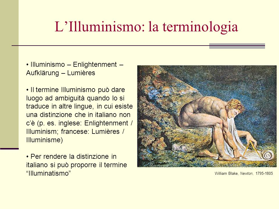 L'Illuminismo: la terminologia
