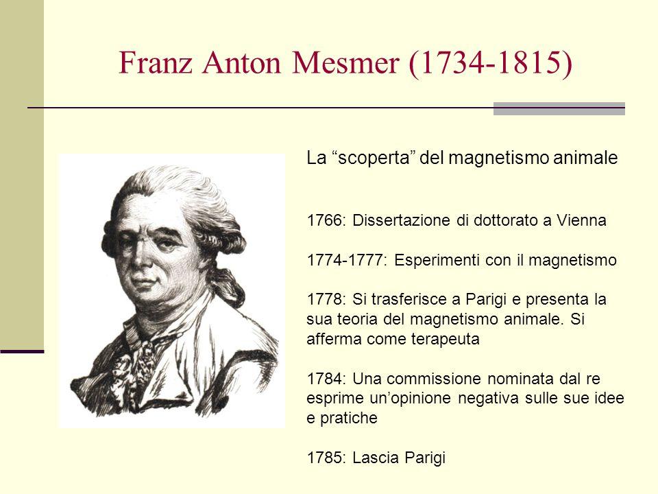 Franz Anton Mesmer (1734-1815) La scoperta del magnetismo animale