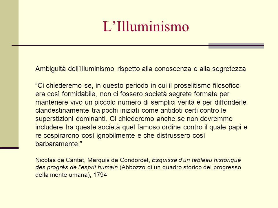 L'Illuminismo Ambiguità dell'Illuminismo rispetto alla conoscenza e alla segretezza.
