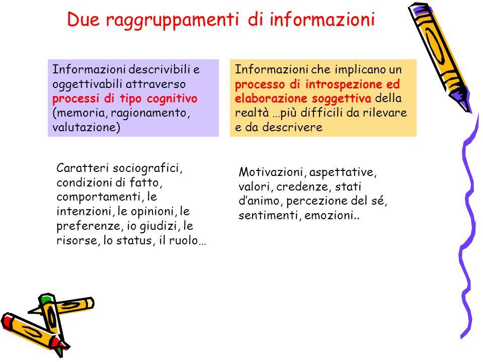 Due raggruppamenti di informazioni