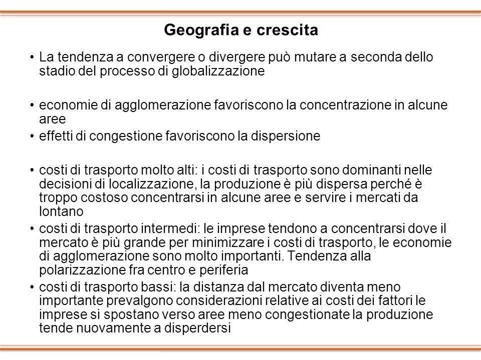 Geografia e crescita La tendenza a convergere o divergere può mutare a seconda dello stadio del processo di globalizzazione.