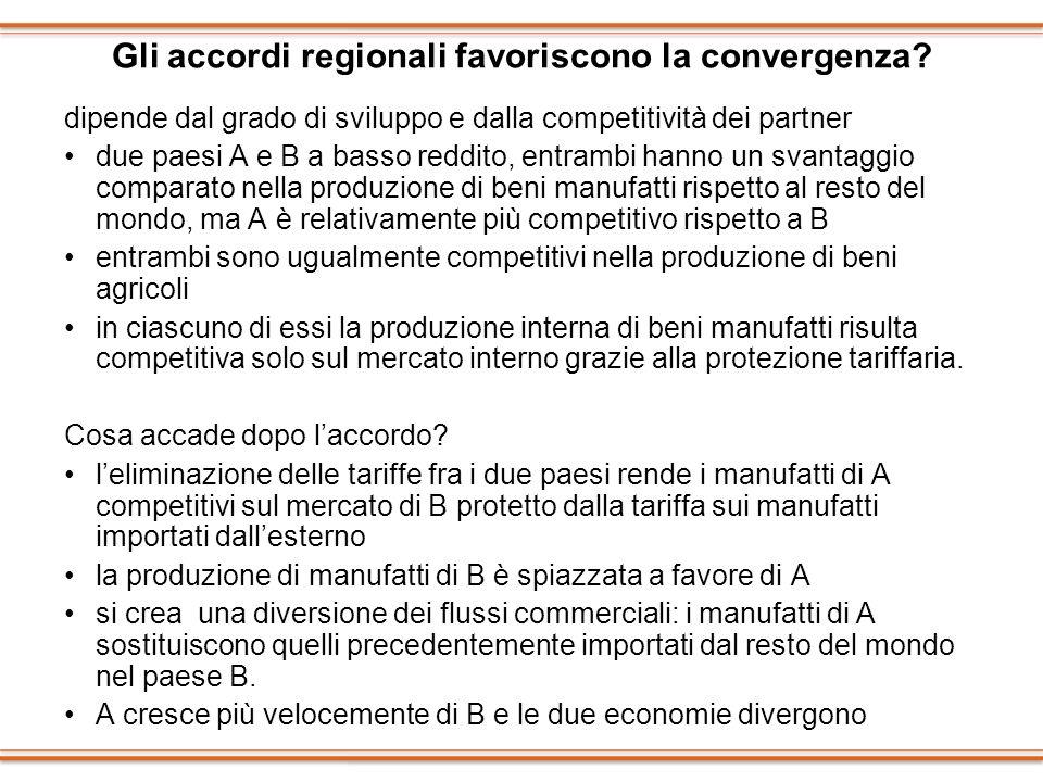 Gli accordi regionali favoriscono la convergenza