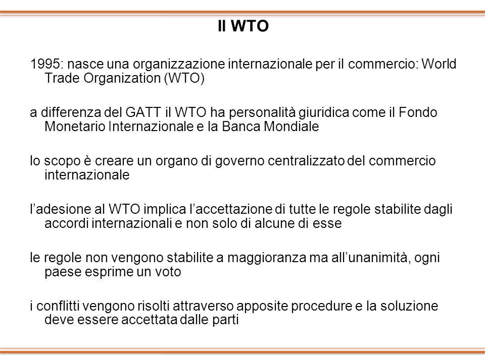 Il WTO 1995: nasce una organizzazione internazionale per il commercio: World Trade Organization (WTO)