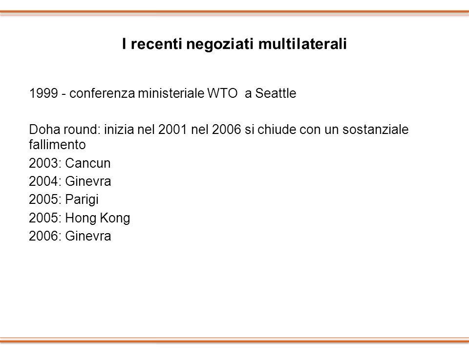 I recenti negoziati multilaterali