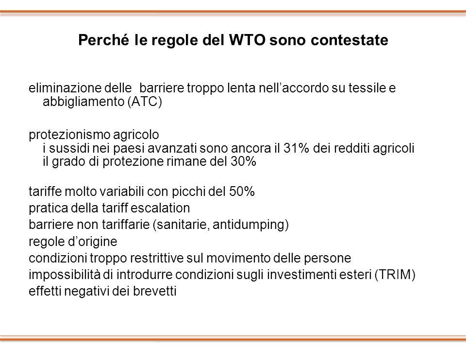Perché le regole del WTO sono contestate