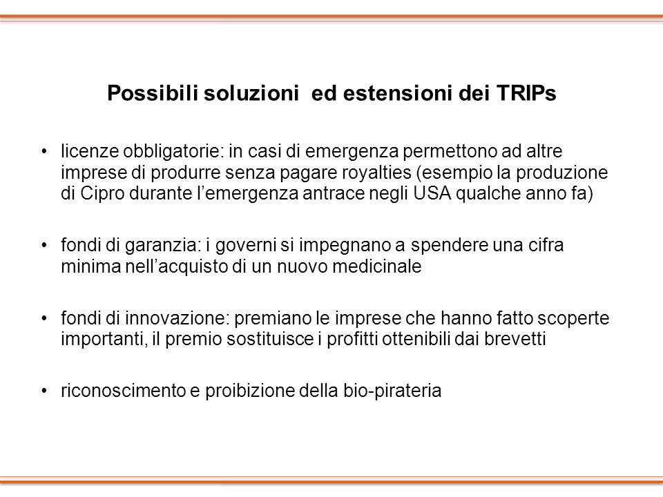 Possibili soluzioni ed estensioni dei TRIPs