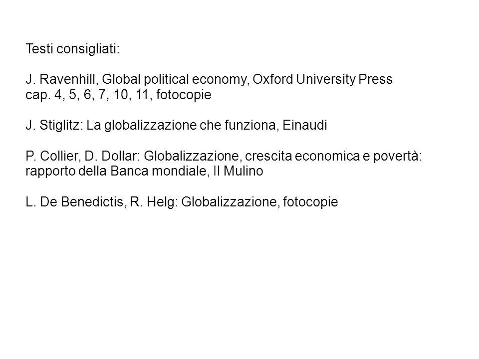 Testi consigliati: J. Ravenhill, Global political economy, Oxford University Press. cap. 4, 5, 6, 7, 10, 11, fotocopie.