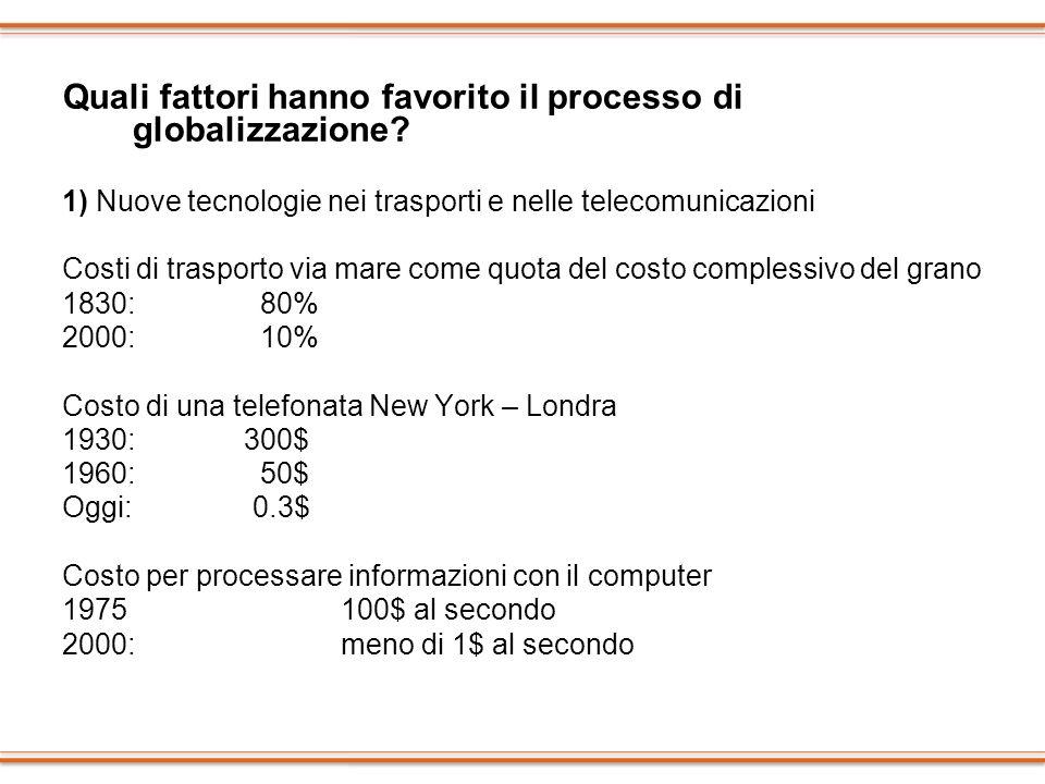 Quali fattori hanno favorito il processo di globalizzazione
