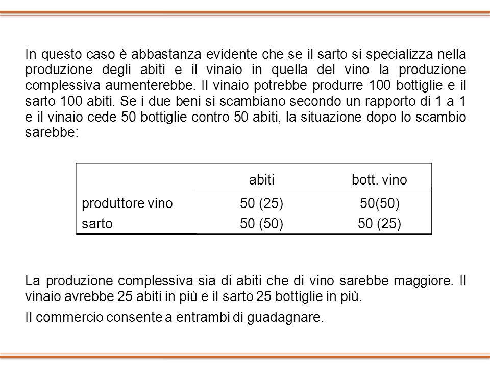 In questo caso è abbastanza evidente che se il sarto si specializza nella produzione degli abiti e il vinaio in quella del vino la produzione complessiva aumenterebbe. Il vinaio potrebbe produrre 100 bottiglie e il sarto 100 abiti. Se i due beni si scambiano secondo un rapporto di 1 a 1 e il vinaio cede 50 bottiglie contro 50 abiti, la situazione dopo lo scambio sarebbe: La produzione complessiva sia di abiti che di vino sarebbe maggiore. Il vinaio avrebbe 25 abiti in più e il sarto 25 bottiglie in più. Il commercio consente a entrambi di guadagnare.