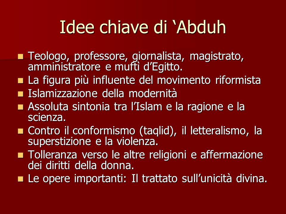 Idee chiave di 'Abduh Teologo, professore, giornalista, magistrato, amministratore e muftì d'Egitto.