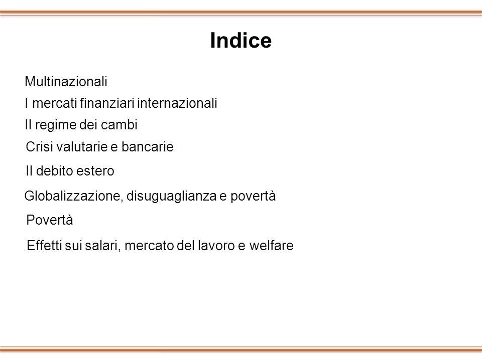 Indice Multinazionali I mercati finanziari internazionali