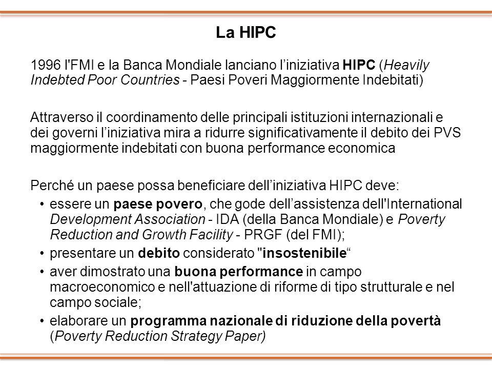 La HIPC 1996 l FMI e la Banca Mondiale lanciano l'iniziativa HIPC (Heavily Indebted Poor Countries - Paesi Poveri Maggiormente Indebitati)