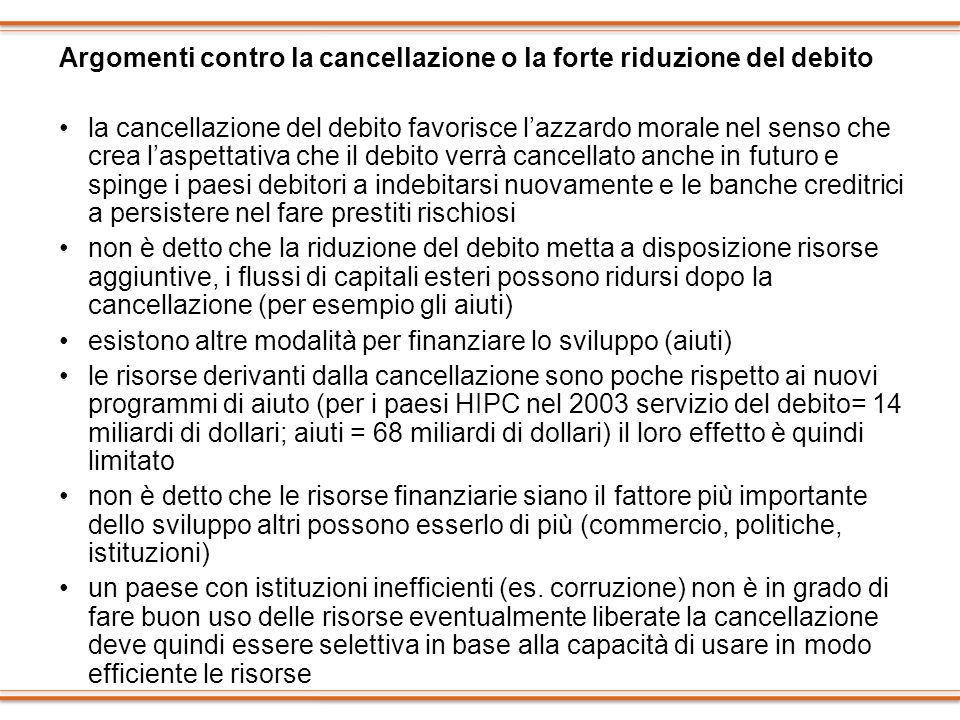 Argomenti contro la cancellazione o la forte riduzione del debito