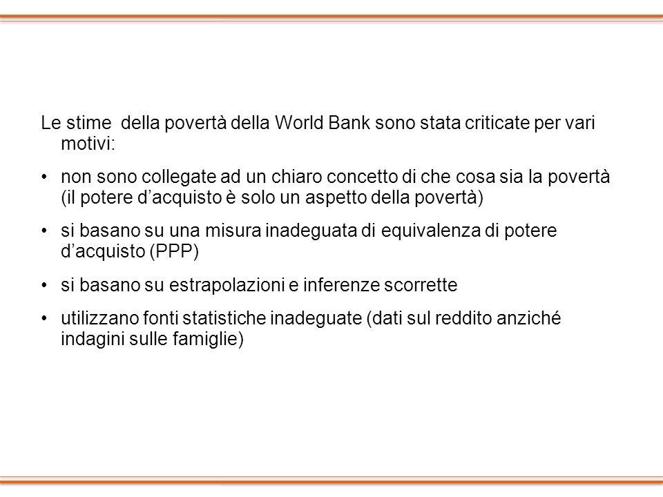 Le stime della povertà della World Bank sono stata criticate per vari motivi: