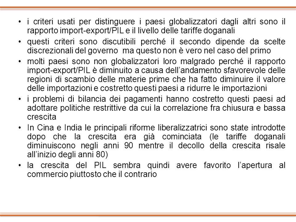 i criteri usati per distinguere i paesi globalizzatori dagli altri sono il rapporto import-export/PIL e il livello delle tariffe doganali