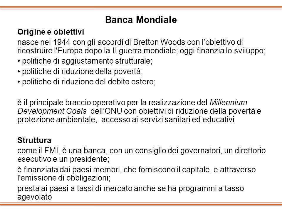 Banca Mondiale Origine e obiettivi