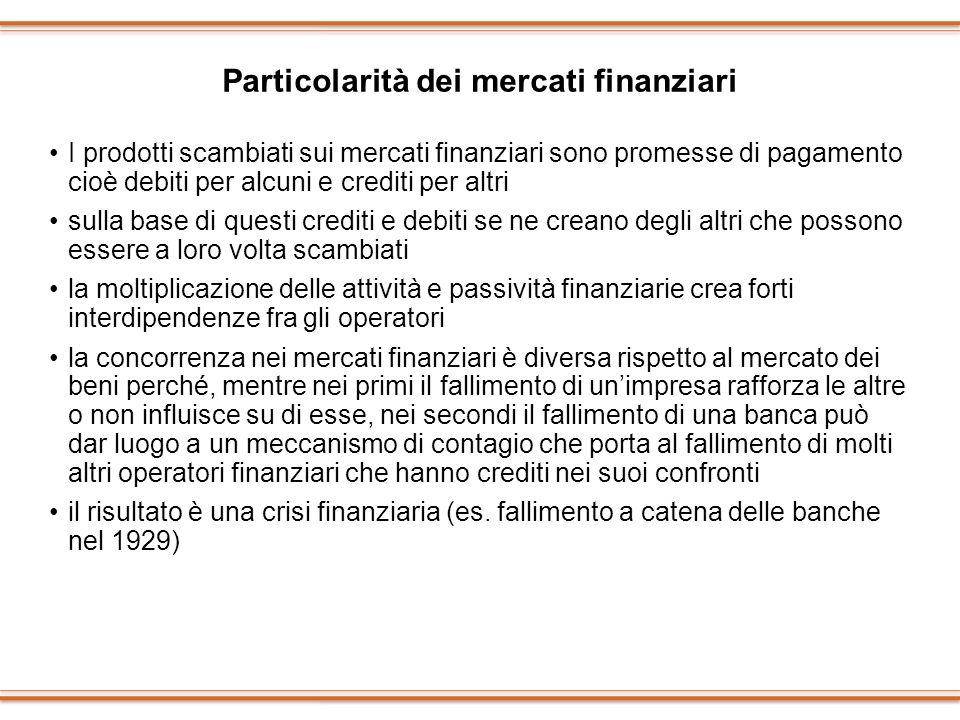 Particolarità dei mercati finanziari