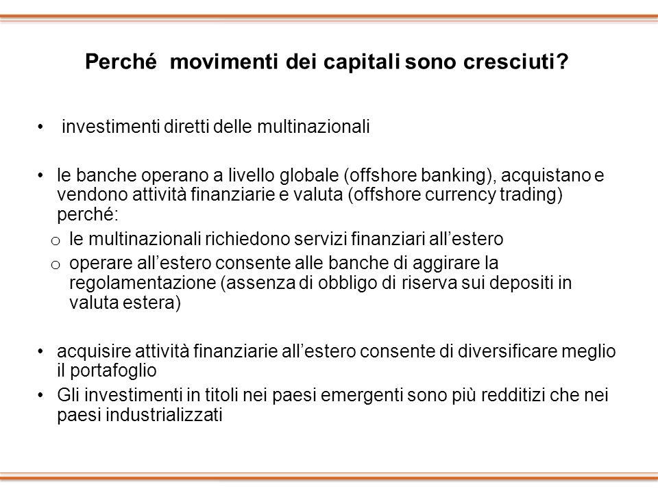 Perché movimenti dei capitali sono cresciuti