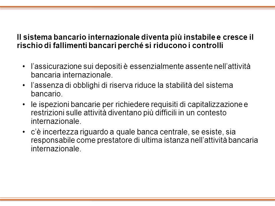 Il sistema bancario internazionale diventa più instabile e cresce il rischio di fallimenti bancari perché si riducono i controlli