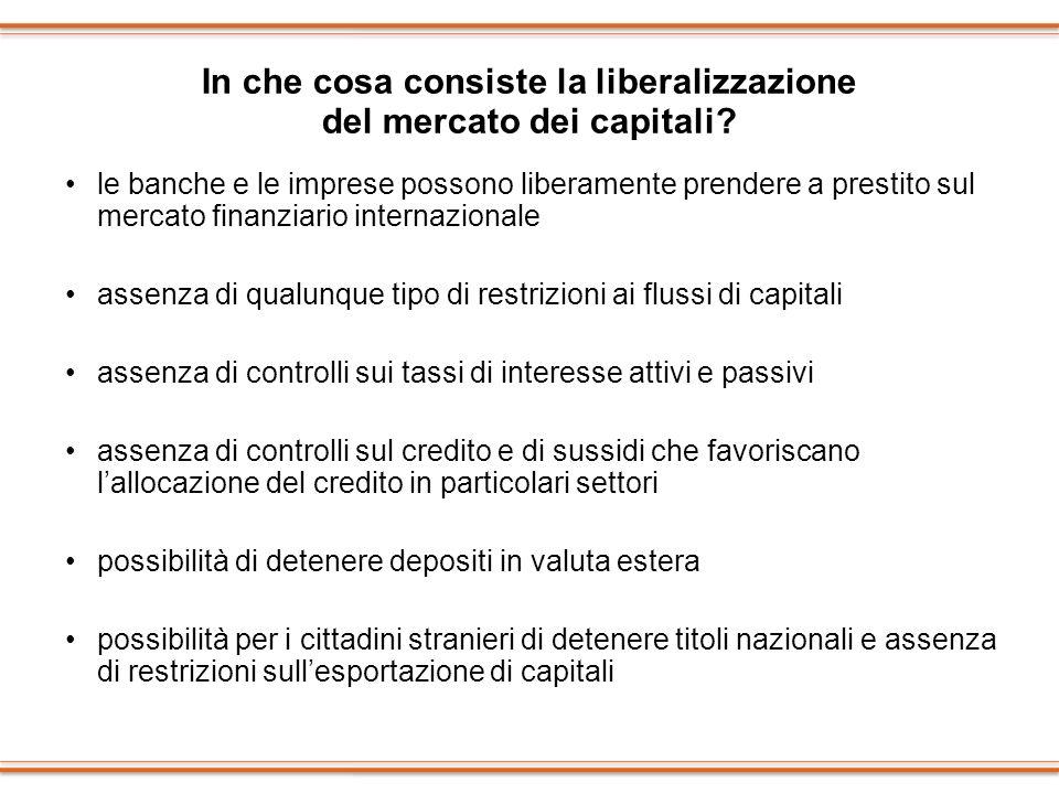 In che cosa consiste la liberalizzazione del mercato dei capitali