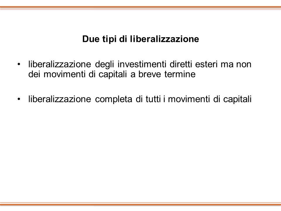 Due tipi di liberalizzazione