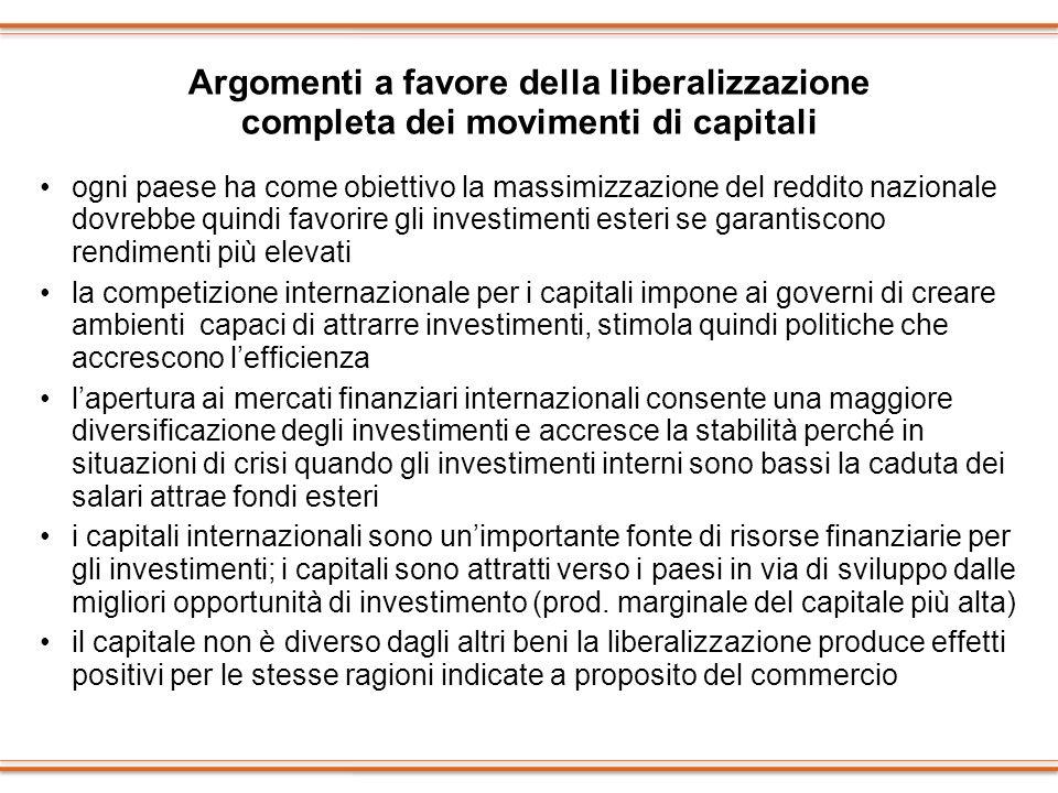 Argomenti a favore della liberalizzazione completa dei movimenti di capitali
