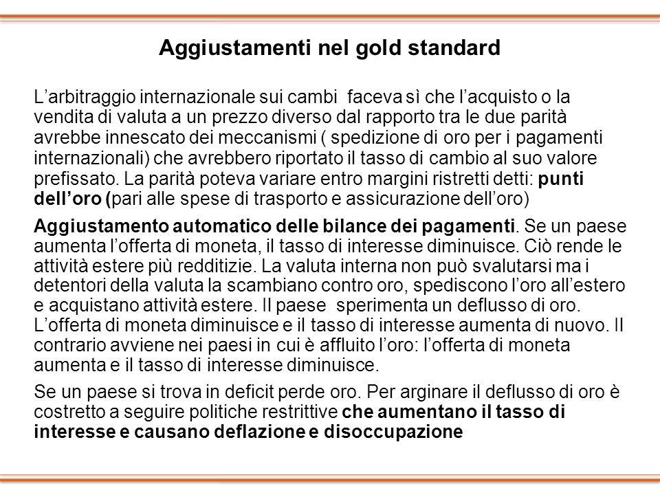 Aggiustamenti nel gold standard