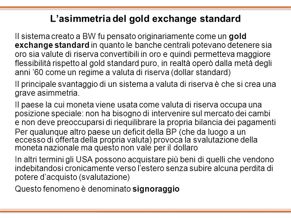 L'asimmetria del gold exchange standard