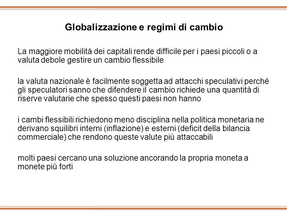 Globalizzazione e regimi di cambio