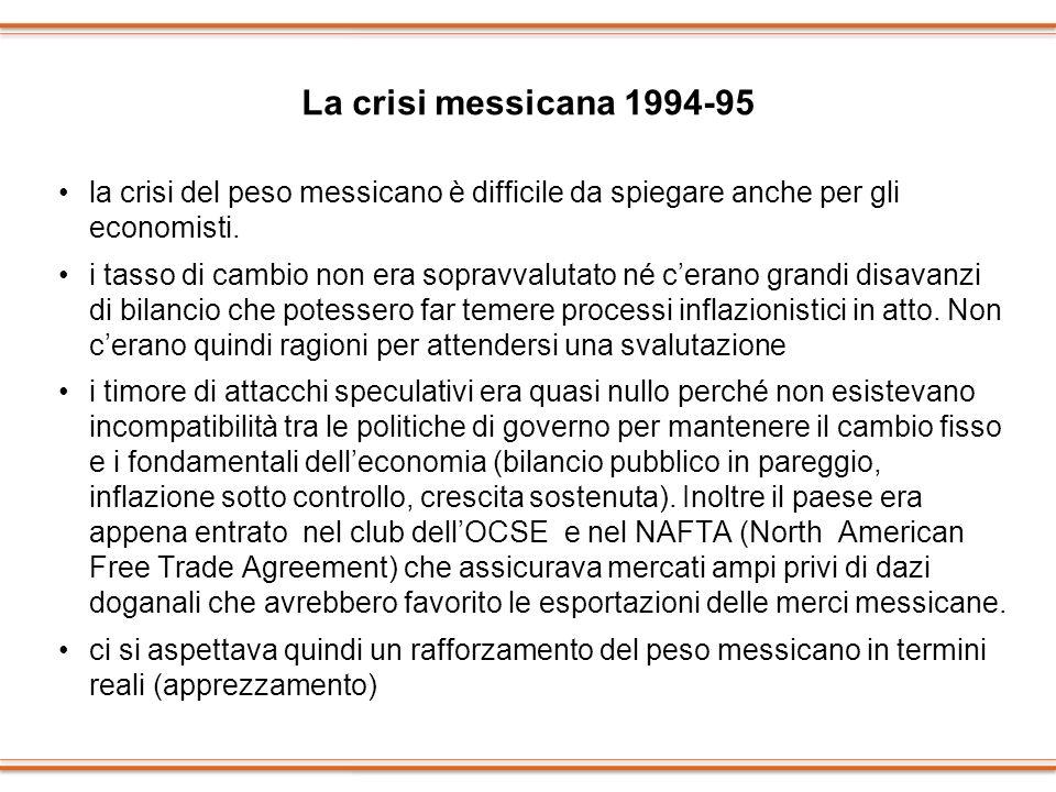 La crisi messicana 1994-95 la crisi del peso messicano è difficile da spiegare anche per gli economisti.