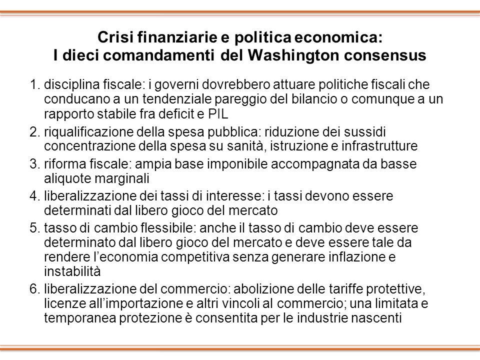 Crisi finanziarie e politica economica: I dieci comandamenti del Washington consensus