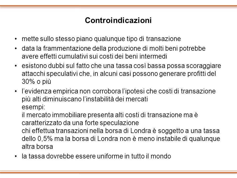 Controindicazioni mette sullo stesso piano qualunque tipo di transazione.