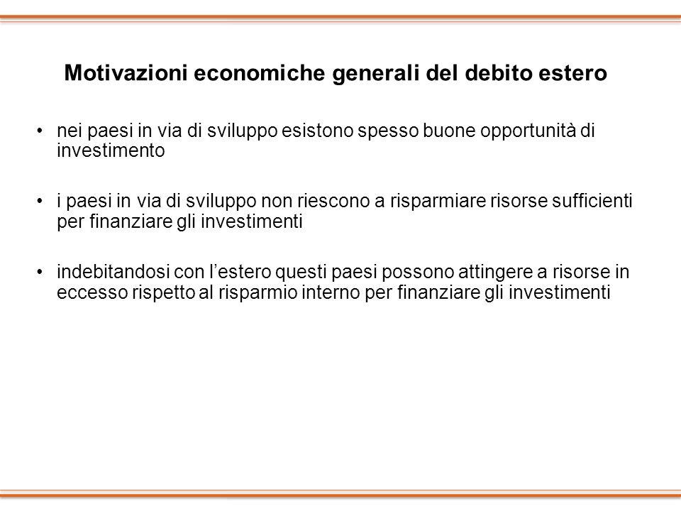 Motivazioni economiche generali del debito estero
