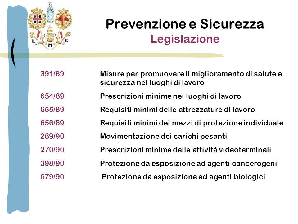 Prevenzione e Sicurezza Legislazione