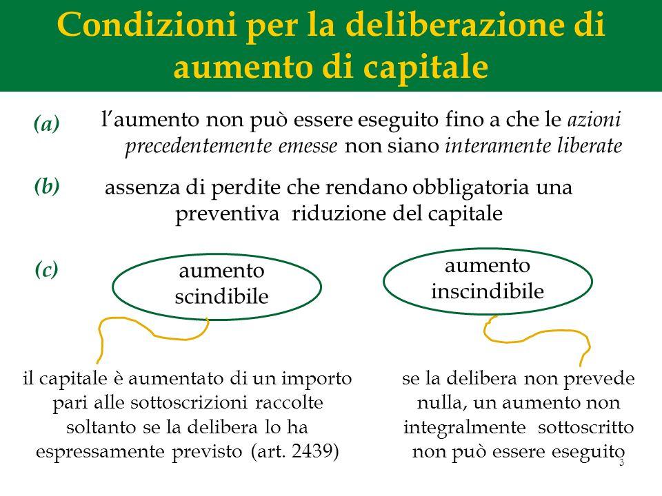 Condizioni per la deliberazione di aumento di capitale