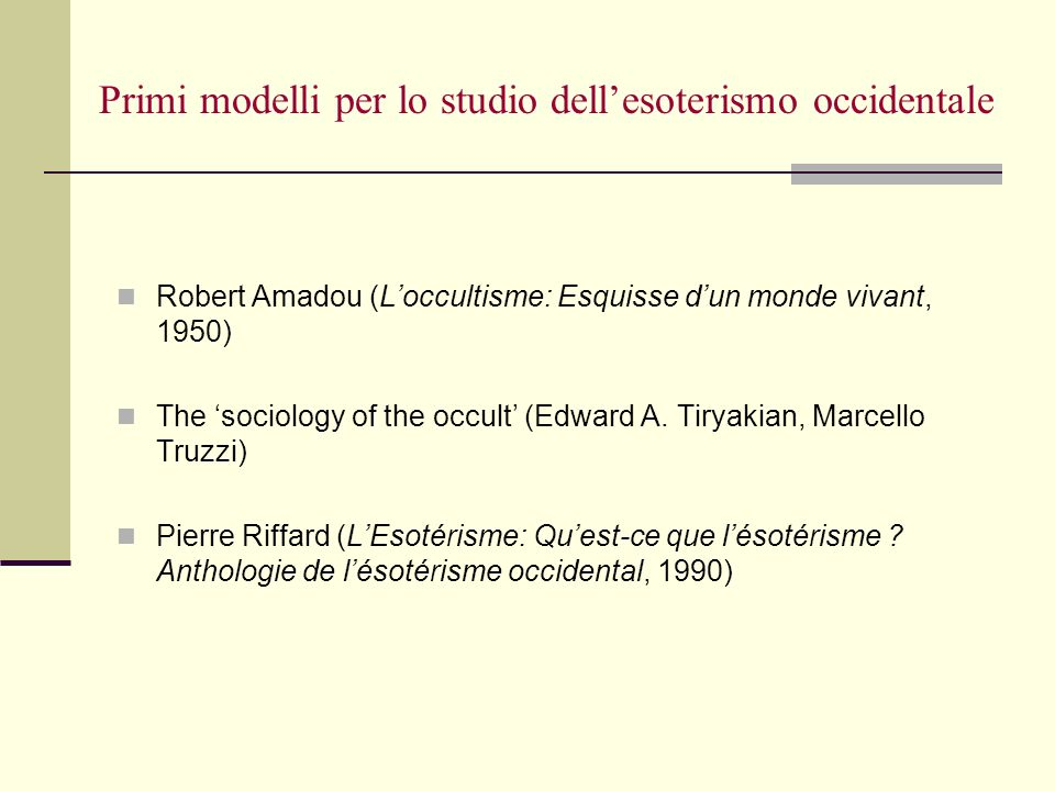Primi modelli per lo studio dell'esoterismo occidentale