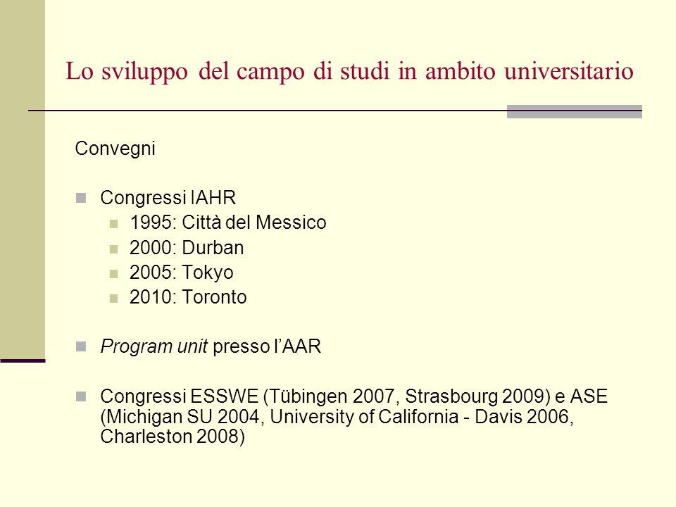 Lo sviluppo del campo di studi in ambito universitario