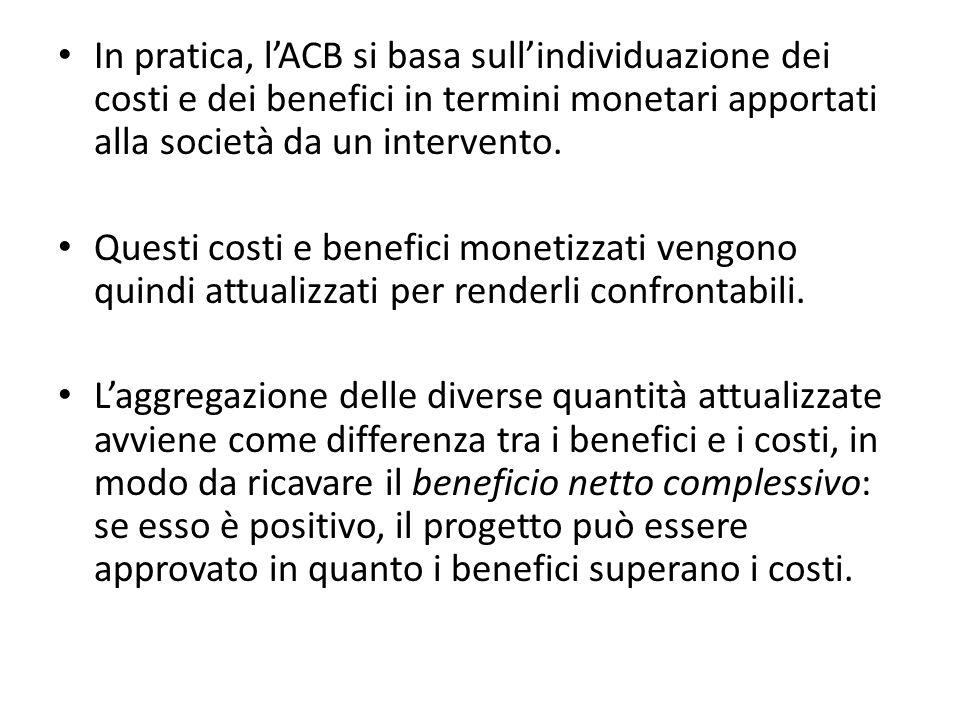 In pratica, l'ACB si basa sull'individuazione dei costi e dei benefici in termini monetari apportati alla società da un intervento.