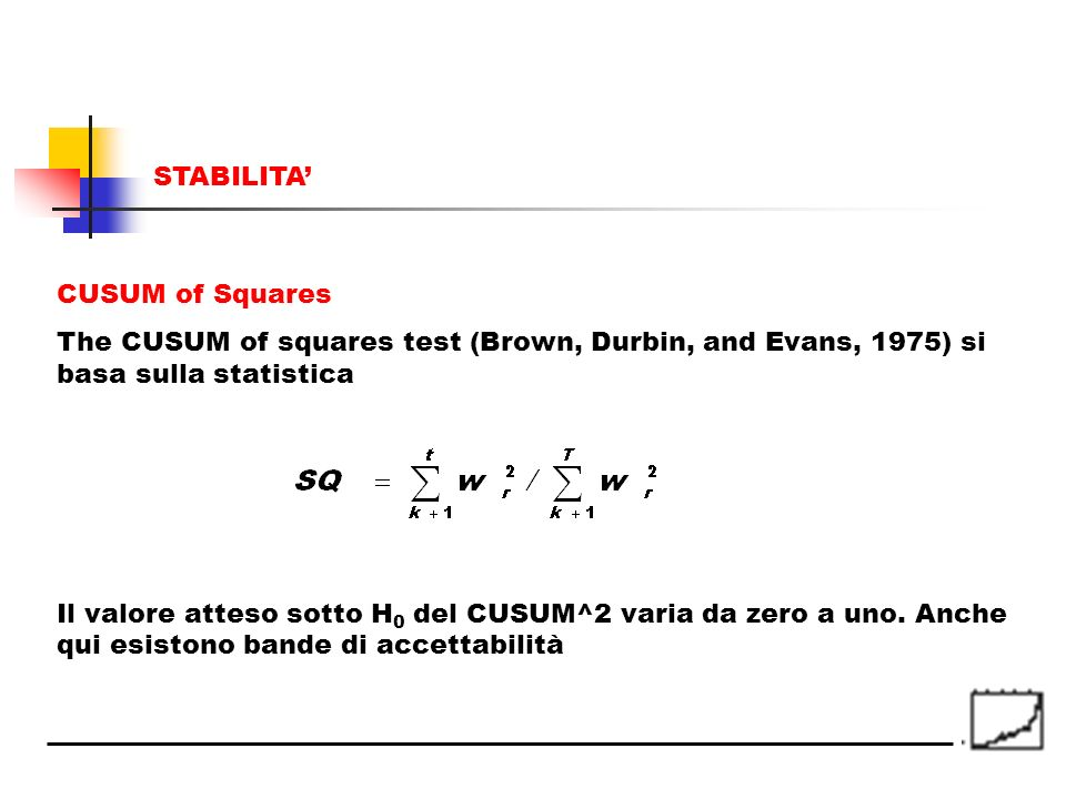 STABILITA' CUSUM of Squares. The CUSUM of squares test (Brown, Durbin, and Evans, 1975) si basa sulla statistica.