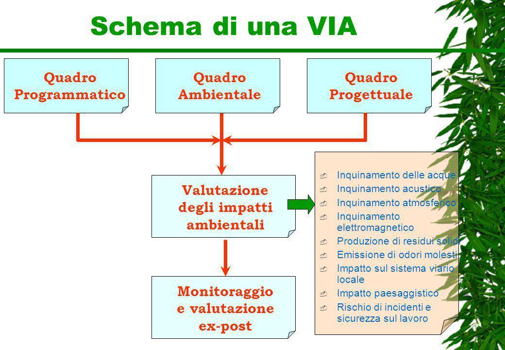 Schema di una VIA Quadro Programmatico Quadro Ambientale Quadro