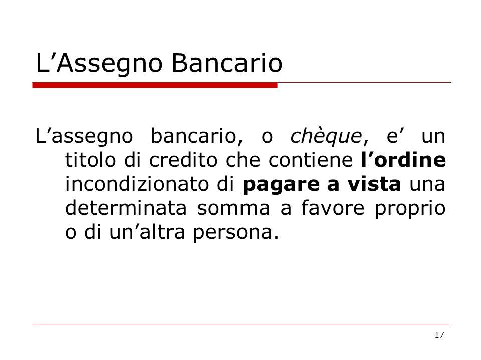 L'Assegno Bancario