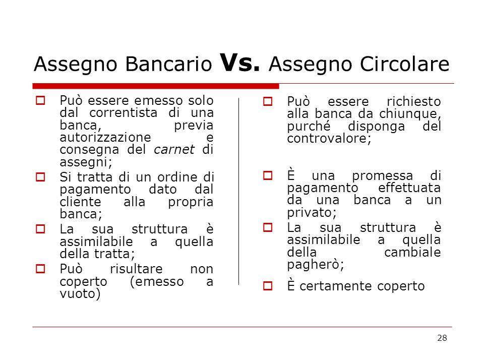 Assegno Bancario Vs. Assegno Circolare
