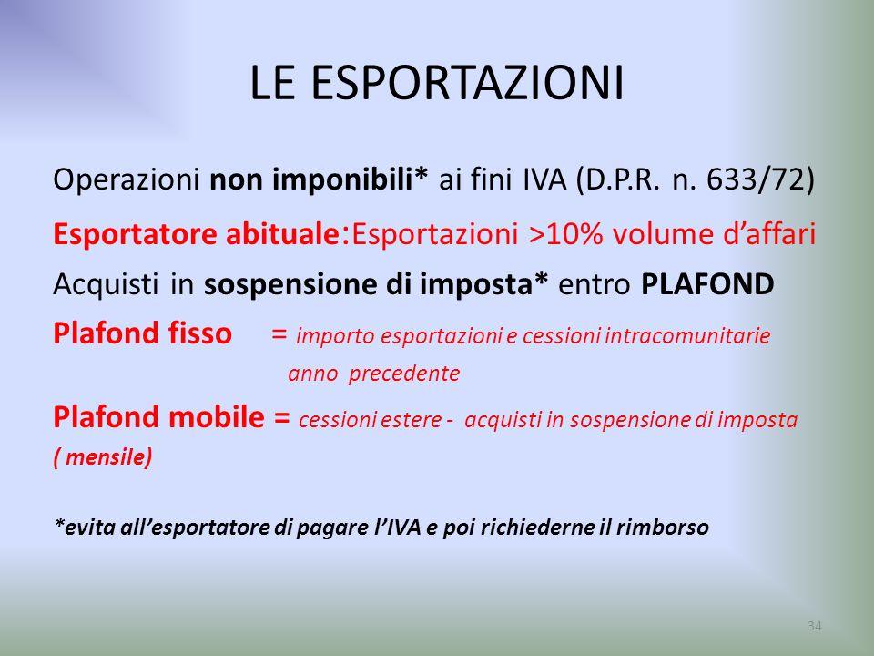 LE ESPORTAZIONI Operazioni non imponibili* ai fini IVA (D.P.R. n. 633/72) Esportatore abituale:Esportazioni >10% volume d'affari.