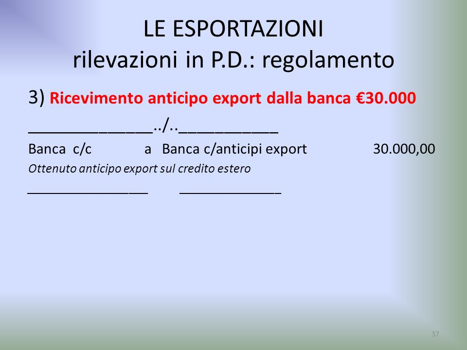 LE ESPORTAZIONI rilevazioni in P.D.: regolamento