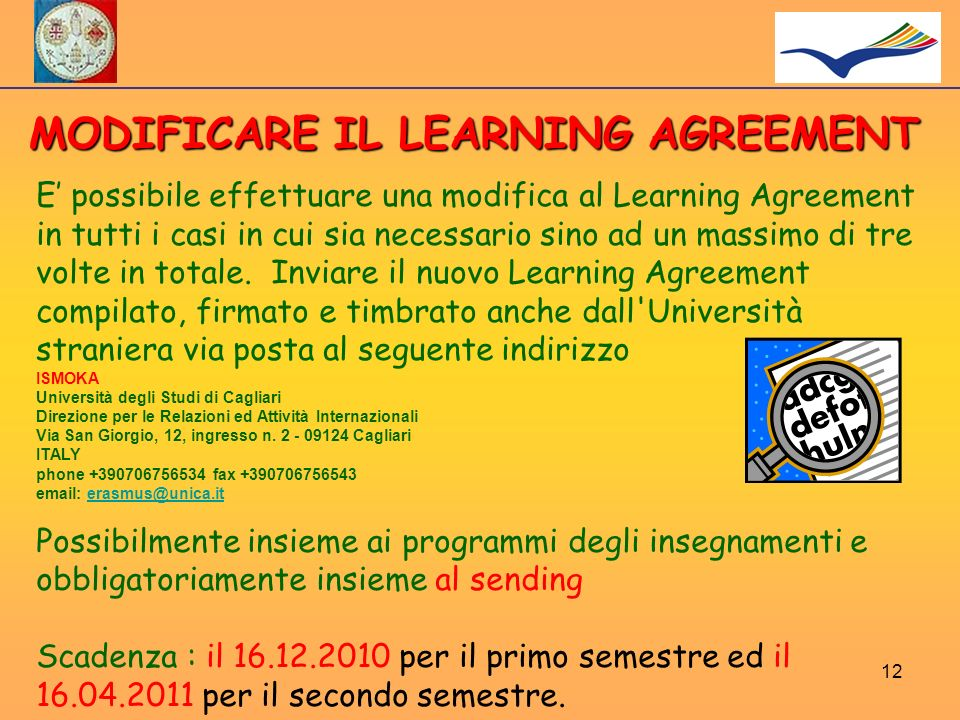 MODIFICARE IL LEARNING AGREEMENT