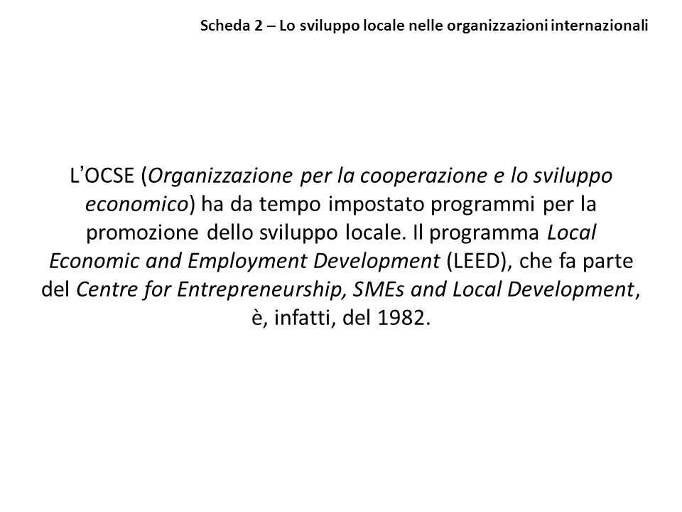 Scheda 2 – Lo sviluppo locale nelle organizzazioni internazionali