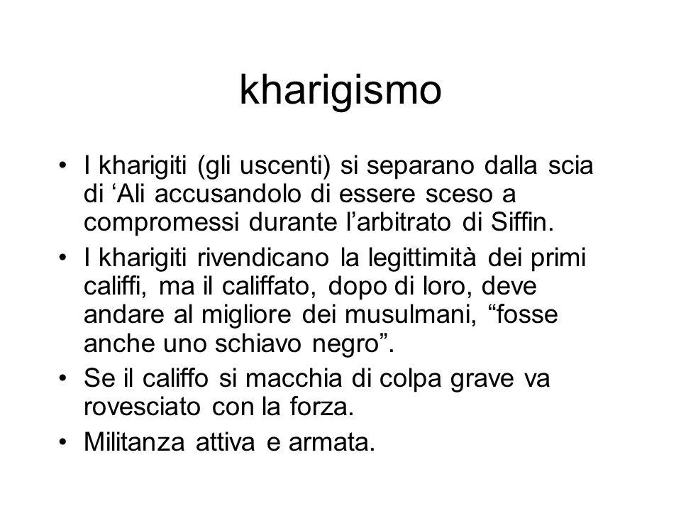 kharigismo I kharigiti (gli uscenti) si separano dalla scia di 'Ali accusandolo di essere sceso a compromessi durante l'arbitrato di Siffin.
