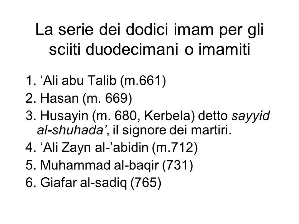 La serie dei dodici imam per gli sciiti duodecimani o imamiti