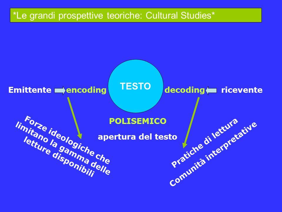 *Le grandi prospettive teoriche: Cultural Studies*