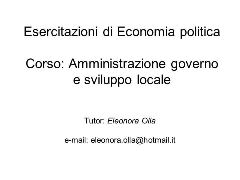 Tutor: Eleonora Olla e-mail: eleonora.olla@hotmail.it